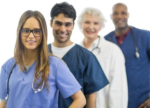 A diverse team of medical professionals.