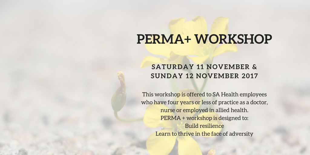 PERMA+ Workshop  The PERMA+ program includes the key domains of Positive Emotion, Engagement, Relationships, Meaning and Accomplishment (PERMA) plus physical activity, nutrition, sleep and optimism.  Register Now.